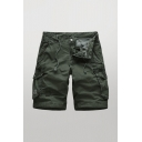 Mens Leisure Shorts Patchwork Zip Fly Button Drawstring Detail Flap Pockets Knee Length Straight Fit Chino Cargo Shorts
