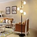 5 Bulbs Living Room Floor Stand Light Post Modern Black-Gold Floor Lamp with Sphere Beige/Milk White Glass Shade