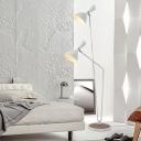 Wide Flare Floor Standing Light Modernist Metal 2 Bulbs White Finish Floor Lamp for Bedroom