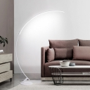 White Finish Arched Floor Lamp Minimalist LED Acrylic Stand Floor Light in White/Warm Light