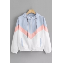 Leisure Womens Light Blue Colorblock Long Sleeve Drawstring Relaxed Jacket