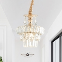 Crystal Block Layered Suspension Light Traditional 1-Bulb Corridor Ceiling Pendant Lamp in Gold