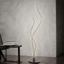 Dual Waving Floor Standing Light Minimalist Acrylic Living Room LED Floor Reading Lamp in White/Black