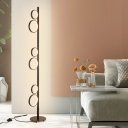 Metallic Multi-Ring Floor Lighting Modernist LED Stand Up Lamp in White/Black/Gold for Living Room, White/Warm Light