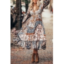 Boho Womens Allover Flower Printed Blouson Sleeve V-neck Bow Tie Waist Ruffled Trim Long Pleated A-line Dress in Coffee