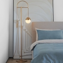 Metallic Arched Floor Standing Light Postmodern 1-Head Floor Lamp in Gold for Living Room