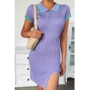 Pretty Ladies Striped Short Sleeve Spread Collar Button up Knitted Slit Front Mini Fitted Polo Shirt Dress in Purple