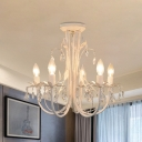Metallic Candelabra Semi Flush Mount Countryside 5 Heads Restaurant Crystal Flush Ceiling Lamp in Matte White