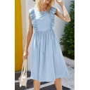 Boutique Girls Plain Sleeveless Round Neck Stringy Selvedge Mid Pleated A-line Dress
