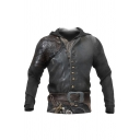 Trendy Mens Armor 3D Pattern Drawstring Button Belt Long Sleeve Regular Fit Hooded Sweatshirt