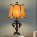 Fleur De Lis Bedside Table Light Countryside Resin 1 Head Beige Night Lamp with Wave-Trim Fabric Shade, 12