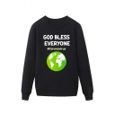 Popular Mens Earth Letter God Bless Everyone Corona Virus Printed Pullover Long Sleeve Round Neck Regular Fit Graphic Sweatshirt