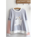 Cat Embroidered Contrasted Long Sleeve Round Neck Loose Fancy Pullover Sweatshirt in Gray and Purple