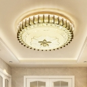 LED Ceiling Flush Light Modern Bedroom Flushmount Lamp with Drum Crystal Shade in Gold