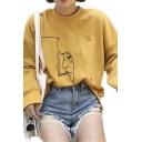 Popular Womens Cartoon Girl Face Print Long Sleeve Crew Neck Loose Pullover Sweatshirt
