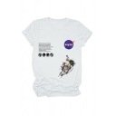Cool Girls Letter Nasa Astronaut Graphic Rolled up Sleeve Crew Neck Fitted T-shirt
