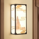 2-Head Bedroom Mural Sconce Lighting Chinese Black Wall Mounted Lamp with Rectangle Fabric Shade