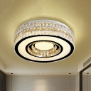 Simple Style Drum Flushmount Lighting Cut-Crystal LED Flush Ceiling Light in Nickel