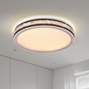 Round Bedroom Flush Ceiling Light Simplicity Crystal Black LED Flush Mount Recessed Lighting