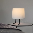 Single Bedroom Nightstand Light Modernist Flaxen/White Night Table Lamp with Barrel Fabric Shade