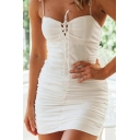 Pretty Womens Spaghetti Straps Bow Tied Ruched Mini Fitted Cami Dress