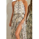 Glamorous Ladies Snake Print Sleeveless Crew Neck Bow Tie Waist High Cut Maxi Flowy Dress in Gray