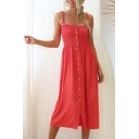 Classic Girls Bow Tied Shoulder Button down Pleated Plain Mid Pleated A-line Cami Dress