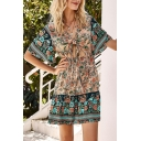 Beach Womens Allover Floral Printed Short Sleeve V-neck Bow Tied Cut out Ruffled Trim Mini A-line Dress in Pink