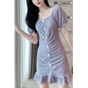 Fashionable Womens Solid Color Puff Sleeve Square Neck Button up Ruffled Hem Mini A-line Dress in Purple