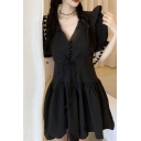 Womens Chic Solid Color Puff Sleeve V-neck Button up Lace-up Front Ruffled Mini Pleated A-line Dress in Black