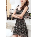 Gorgeous Ladies Ditsy Floral Printed Stringy Selvedge Straps Ruffled Mini A-line Cami Dress in Black