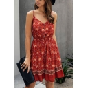 Pretty Girls Allover Floral Print Spaghetti Straps V-neck Bow Tied Waist Ruffled Midi Pleated A-line Cami Dress in Red