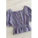 Novelty Womens Solid Color Button Detail Pleated Ruffle Trim Square Neck Short Puff Sleeve Slim Fit Crop Shirt