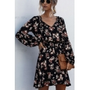 Stylish Allover Flower Print Long Sleeve Sweetheart Neck Short Pleated A-line Dress