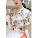 All-over Floral Patterned Ruched Short Sleeve Asymmetric V-neck Pearl Button down Relaxed Stylish Blouse in White
