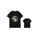 Letter Nasa Rocket Graphic Short Sleeve Crew Neck Loose Fit Stylish Tee Top