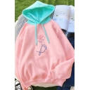 Popular Girls Flower Pattern Long Sleeve Contrasted Hooded Relaxed Hoodie in Pink
