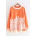 Trendy Cartoon Cat Printed Contrasted Long Sleeve Round Neck Long Loose Fit Knitted Sweater