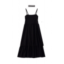 Cool Girls Solid Color Pleated Tiered Patchwork Slit Detail Off the Shoulder Sleeveless Midi Cami Dress with Choker