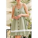 Stylish Womens Lace Trimmed Spaghetti Straps Button down Ruffle Short A-line Cami Dress in Light Green