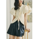 Glamorous Girls Solid Color Tie Asymmetric Stand Collar Short Puff Sleeve Regular Fit Short in Apricot