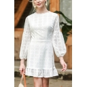 Gorgeous Womens Hollow out Ruffle Hem Long Sleeve Crew Neck Short A-line Dress in White