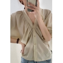 Leisure Ladies Solid Color Blouson Sleeve V-neck Button-down Ruched Loose Fit Blouse Top