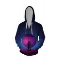 Mens Stylish Moon Astronaut 3D Pattern Pocket Zipper Drawstring Regular Fit Full Sleeve Hoodie