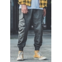 Stylish Pants Letters Pattern Drawstring Cuffed Pockets Full Length Tapered Fit Cargo Pants for Men