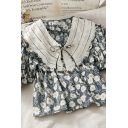 Trendy Sunflower Printed Button Down Tie Patchwork Lace Peter Pan Collar Short Puff Sleeve Loose Fit Crop Smock Shirt for Girls