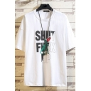Creative Mens Tee Top Animal Rose Letter Shut Fuck up Pattern Round Neck Regular Fit Short Sleeve Graphic Tee Top