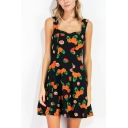 Gorgeous Womens Allover Pineapple Printed Sweetheart Neck Short A-line Pleated Tank Dress in Black