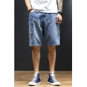 Simple Shorts Ligth Wash Flap Pocket Zipper Mid Rise Relaxed Fitted Jean Shorts for Men