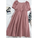 Simple Womens Solid Color Pleated Ruched Drawstring V Neck Short Puff Sleeve Midi A Line Dress
